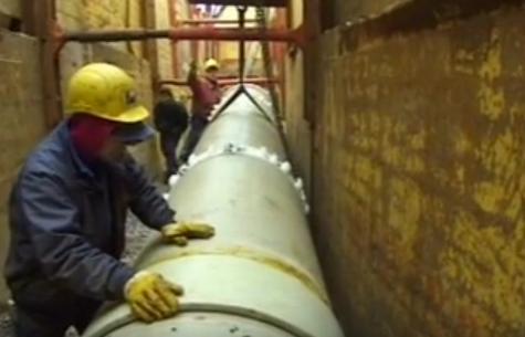 Санация изношенных трубопроводов стекопластиковыми трубами методом проталкивания с использованием опорно-направляющих колец
