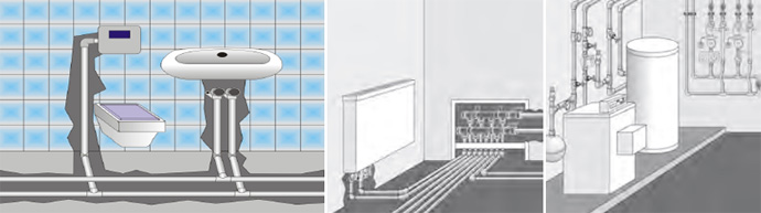 Монтаж полипропиленовых труб к стене