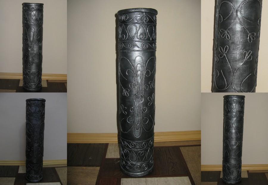 напольная ваза из трубы от линолеума
