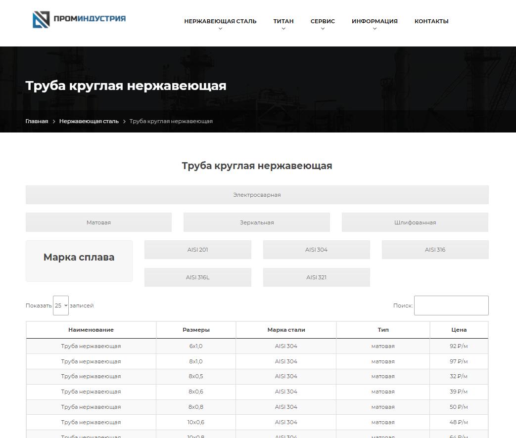 сайт компании ПромИндустрия